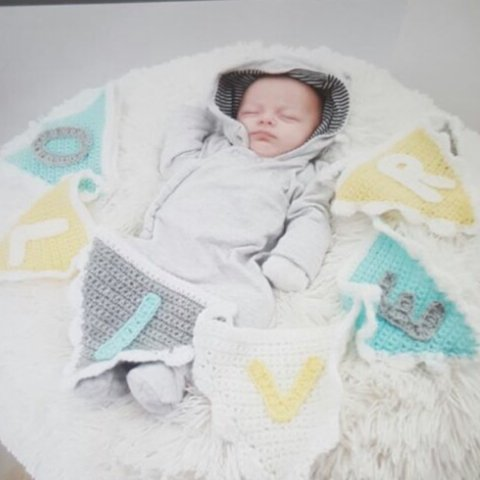 Personalised Crochet Baby Bunting In Yellow Grey White And Depop