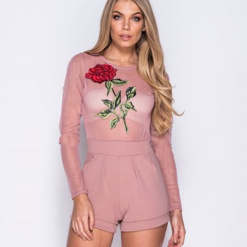 5a425f5440 Baby pink mesh bodysuit with red rose