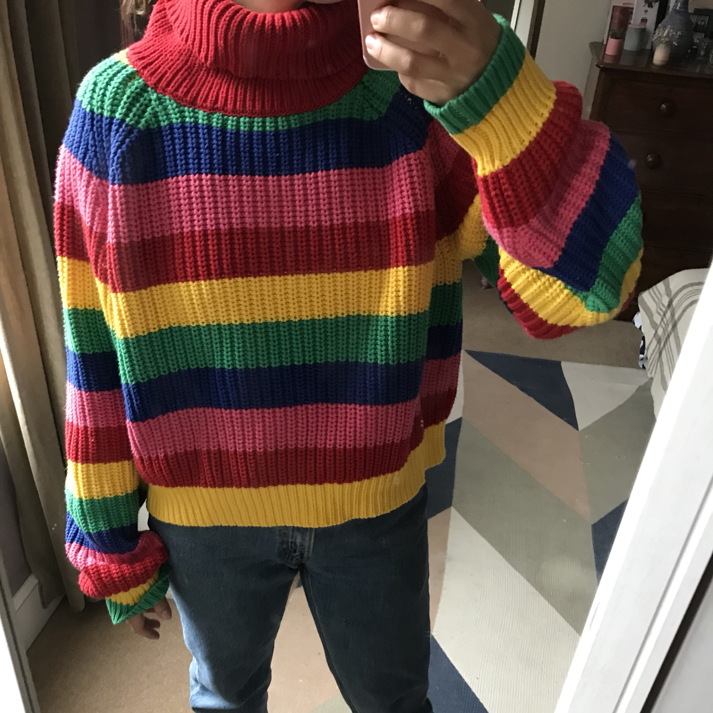 92aacbd80662 LAZY OAF Rainbow Rollneck Knitter Jumper🌈 Cropped rainbow - Depop