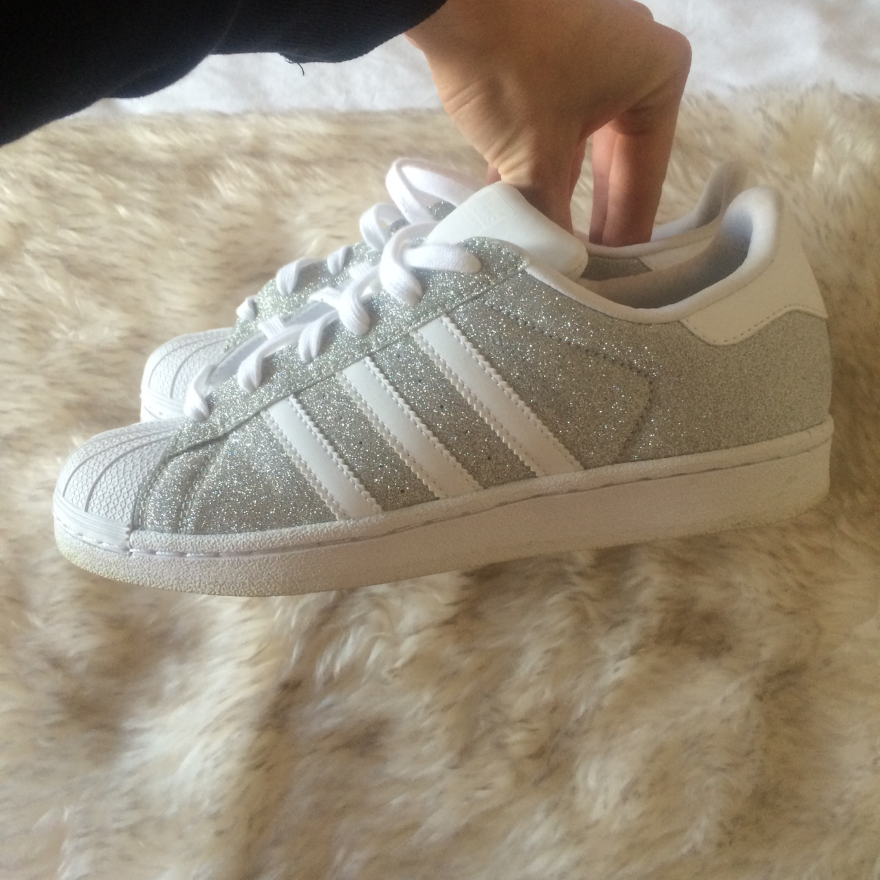 Adidas superstars silver glitter trainers worn Depop