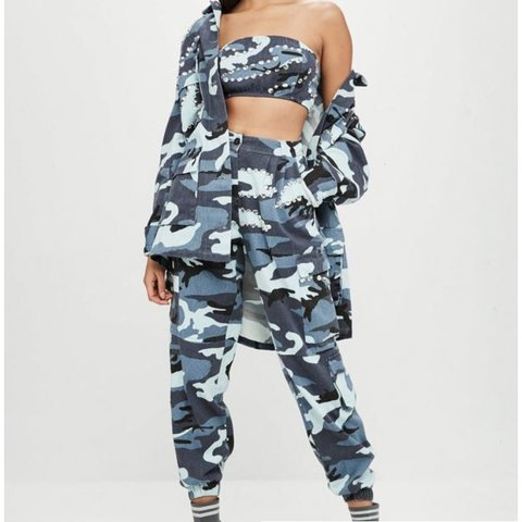 aa1909c6aa6084 @venetiam. 2 years ago. West Sussex, United Kingdom. CARLI BYBEL X  MISSGUIDED blue camo trousers.