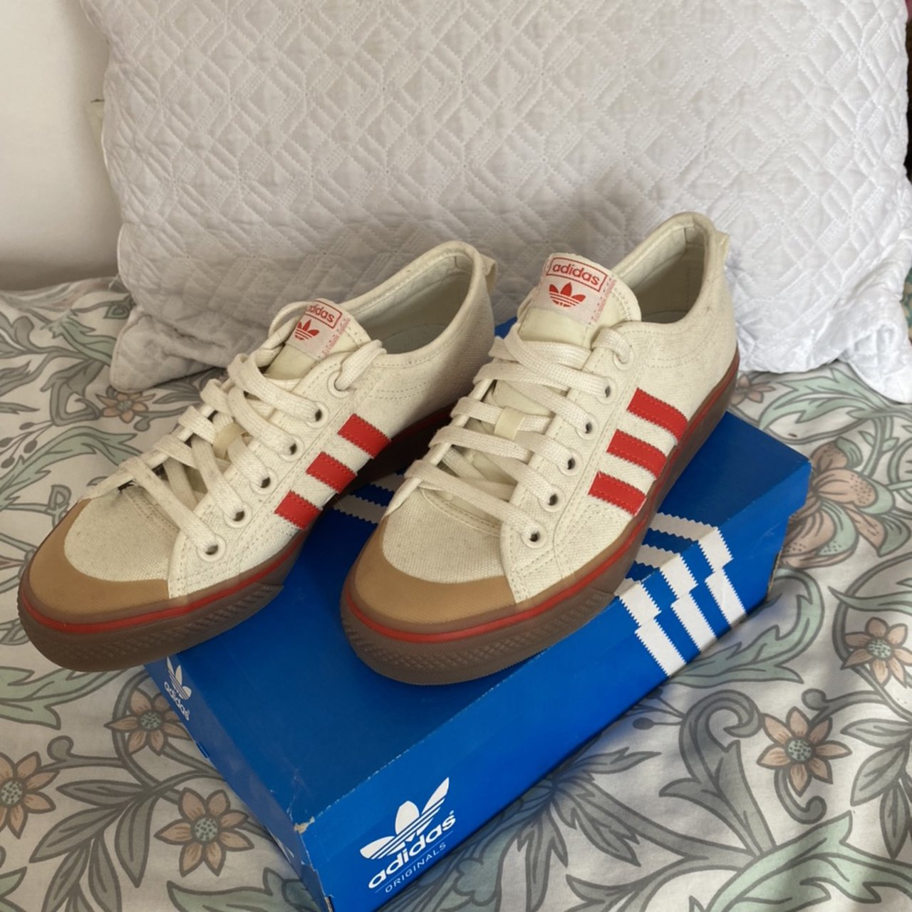 Adidas white and red stripe trainers