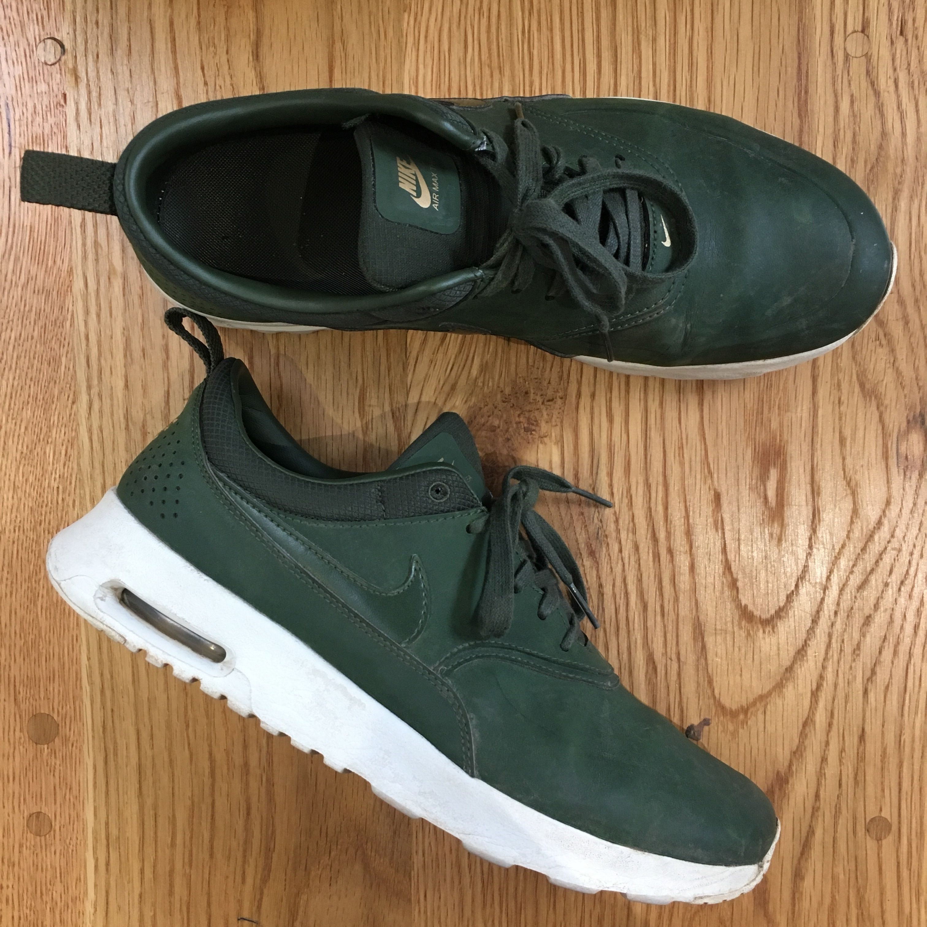 Nike air max thea premium carbon green with gold Depop