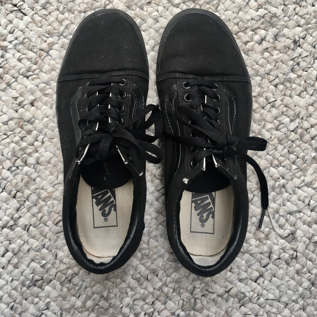 7963e84669e42e Old school all black Vans - perfect condition as only worn a - Depop