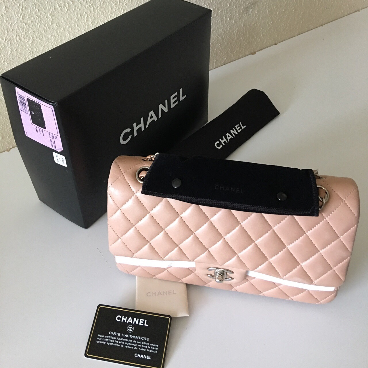But Carte De Controle.Chanel Timeless 2 55 Blush Nude Clair Quilted Depop