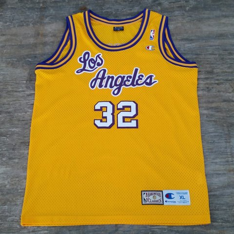 27294484160 @lockdownvintage. 3 years ago. Sleaford, Lincolnshire NG34, UK. Vintage  Champion Los Angeles Lakers Magic Johnson NBA Basketball Jersey