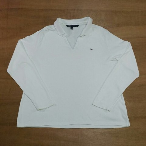 922fdc914 @lockdownvintage. 3 years ago. Sleaford NG34, UK. Vintage Tommy Hilfiger  white long sleeve rugby shirt