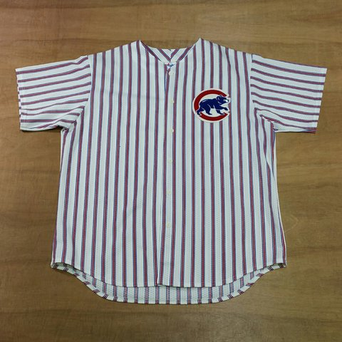 7f74fbd8 @lockdownvintage. 2 years ago. Sleaford NG34, UK. Vintage Chicago Cubs MLB  Baseball Pinstripe button up baseball jersey by Majestic