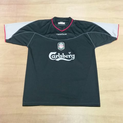a79d7bf3ba4 Vintage Liverpool FC Black away Football shirt made by Size - Depop