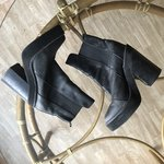 d294b0a1c58d Mocha Brown Patent Perspex Ankle Strap Block High Heel There - Depop