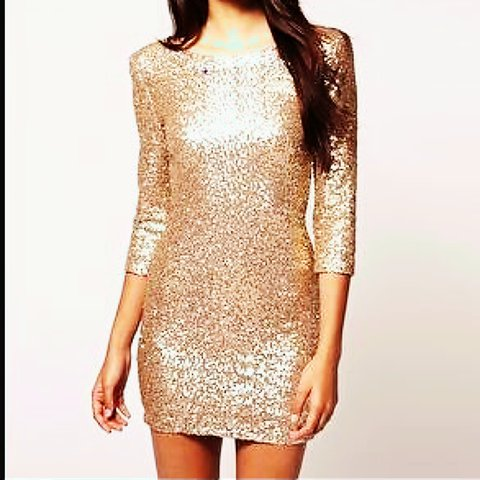 2411ca9c @zarasmyth1. 2 years ago. Solihull, West Midlands, UK. Topshop TFNC gold  sequin long sleeve dress, never worn still has tags ...