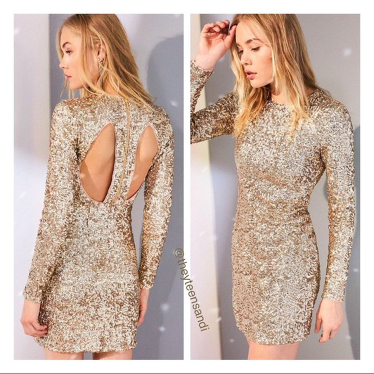 Urban Outfitters Long Sleeve Gold Sequin Dress With Depop