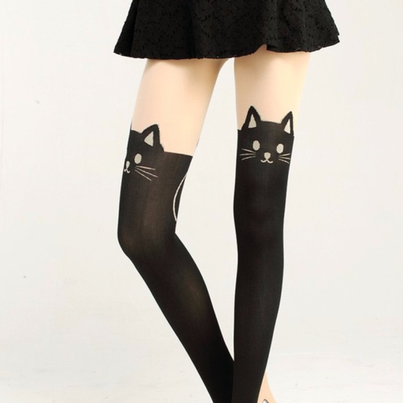 d70d5c875333f Nude / Black Cat Tights PRICE LOWERED Like faux over the Ft - Depop