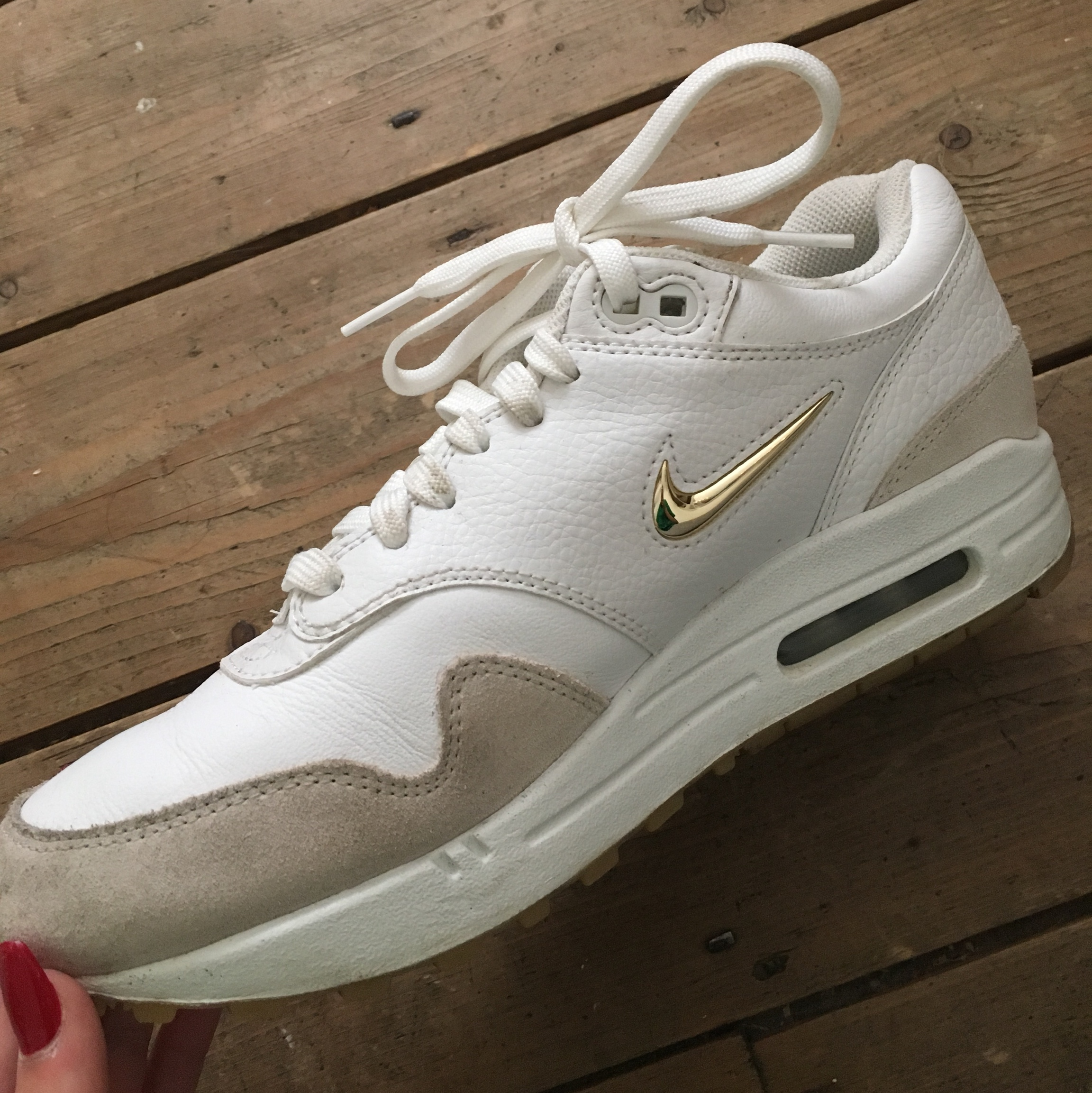 Nike air max 1 Jewel white with gold tick size 6 in Depop