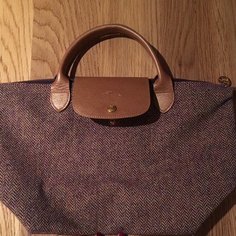 0b48fb471902 Authentic LONGCHAMP heather Wool Tweed Le Pliage handbag tan - Depop
