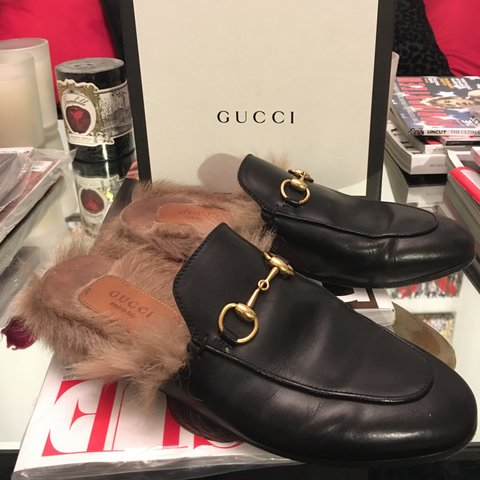 44f917b7344 Authentic Gucci princetown horsebit fur loafers   slippers. - Depop