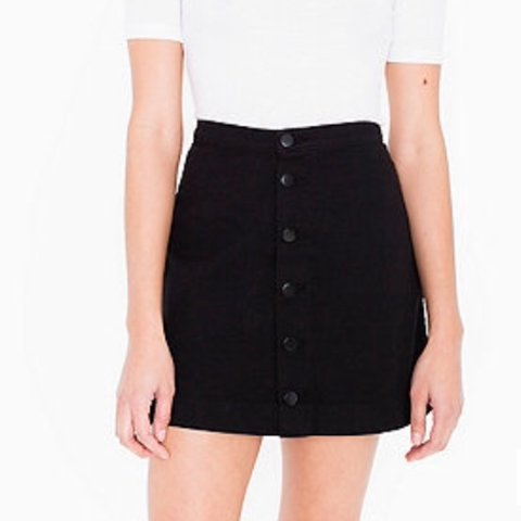 ff7cb49a969 American Apparel Black Denim Button Down A-line Mini Skirt. - Depop