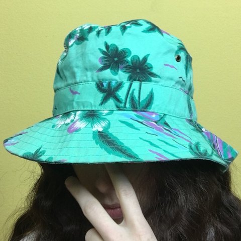 e125a3735f2 Green Floral Unisex Hawaiian Bucket Hat 🌴🌅 This hat is a - Depop
