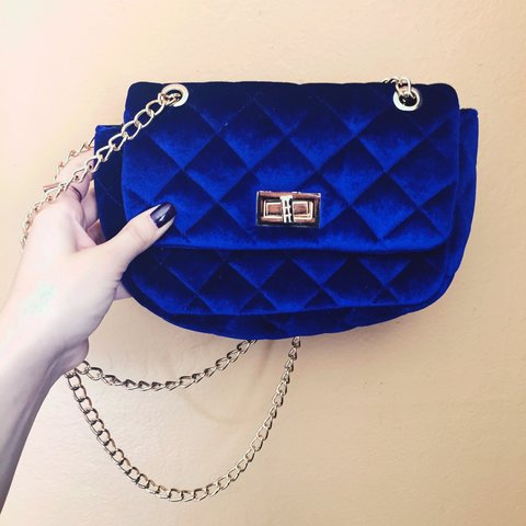 970b33bb3b4ed Royal blue velvet purse with gold body chain. Bought online - Depop