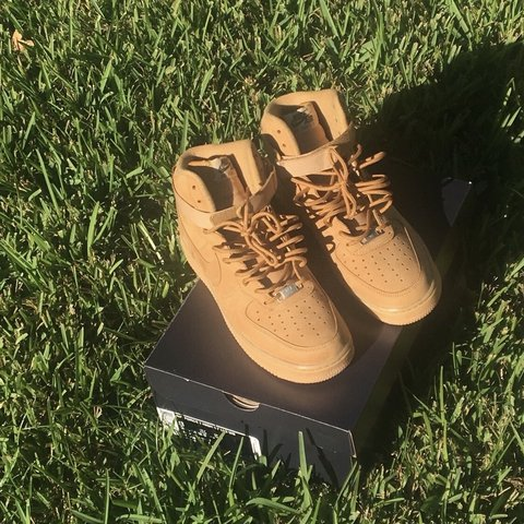 671abb8f757 tan Nike Air Force 1 high tops. these are pretty rare and i - Depop