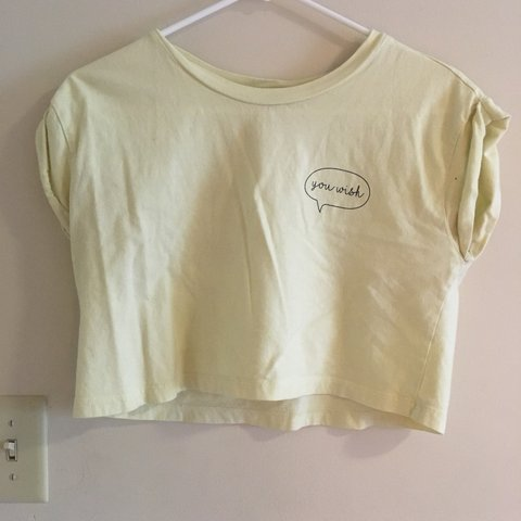 """d0d298ba43e06 Comfy """"You Wish"""" yellow crop top. The sleeves are rolled I A - Depop"""