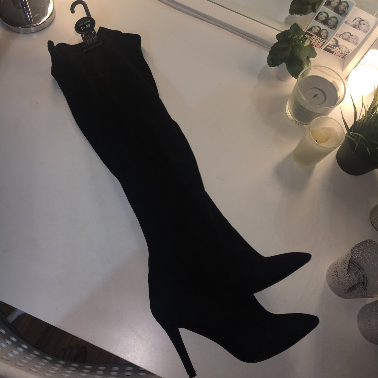 0c2b37b4395 Over the knee black pointy toe boots from misguided barely - Depop