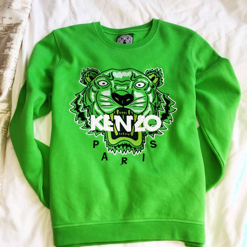d0ef4ff7 Bright green kenzo jumper! Size large but come up small has - Depop