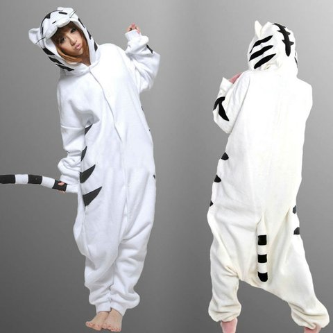 41ead0e3ae5f White Tiger Onesie! - Worn once for Halloween. - Comfy and - Depop