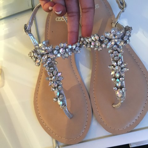 71a3b02bb3e0 Silver jewelled sandals from Asos size 5