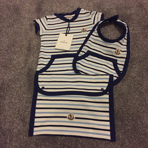 305d29962 Moncler baby set includes romper bib and bag brand new with - Depop