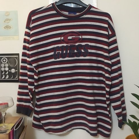 1f23bf4115e3 @rhawley. 4 months ago. Bristol, United Kingdom. Vintage rare 90s genuine Guess  long sleeved cotton striped top. Perfect vintage condition ...