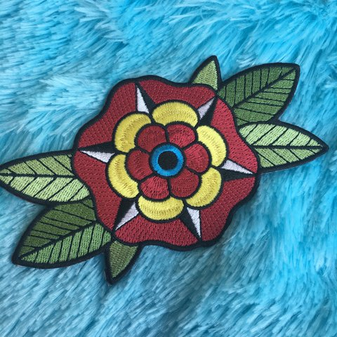 American Traditional Tattoo Style Flower Iron On Patch Depop