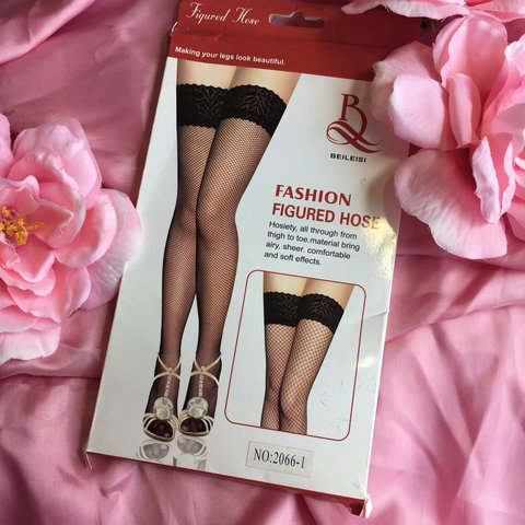 b265538050100 Black fishnet thigh highs with lace top! Brand new & one - Depop