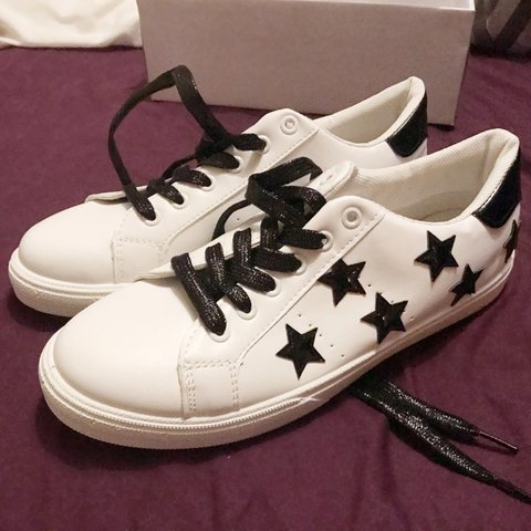 646646423b2f Brand new in box white leather converse-feel trainers with - Depop