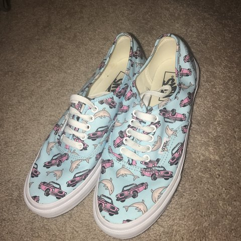 "Vans ""off the wall"" Blue with dolphins and convertible on a - Depop 97bf803c7"