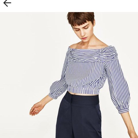 be4323905160e Zara blue striped shirt off-shoulder crop top Size M Worn - Depop
