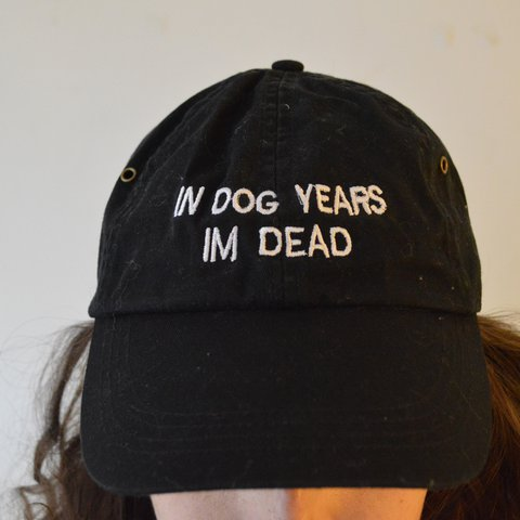 In dog years I m dead cap. Black with white embroidery. Worn - Depop 151c29af7ac4