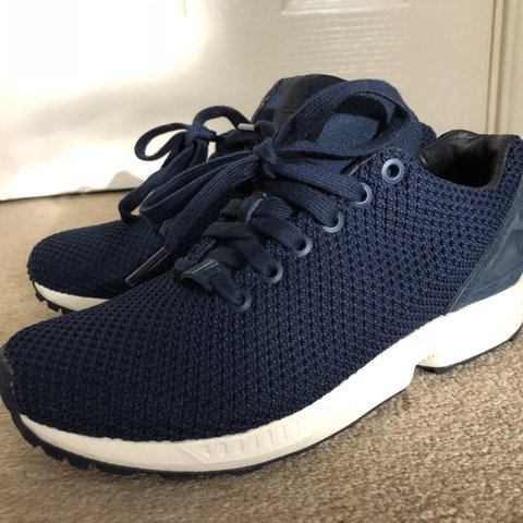 31da8c450507a Adidas ZX Flux Dark blue knit style trainer. So so Worn a - Depop