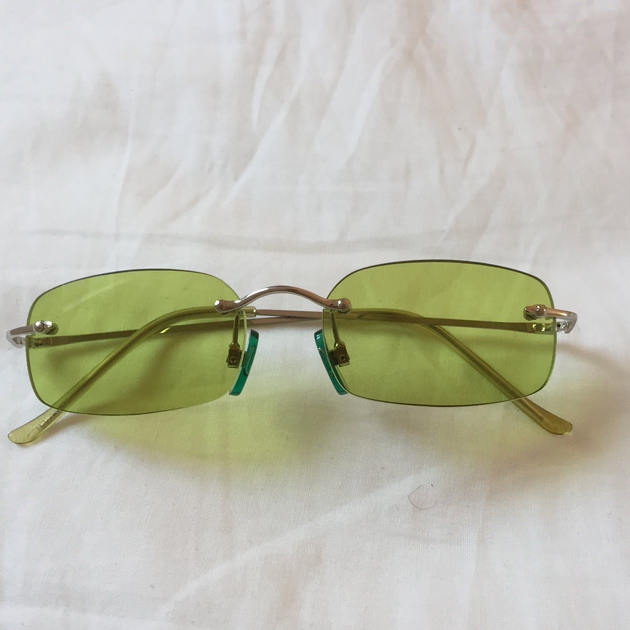 464cffff8d9 SUPER COOL vintage sunglasses! retro green tinted rimless - - Depop