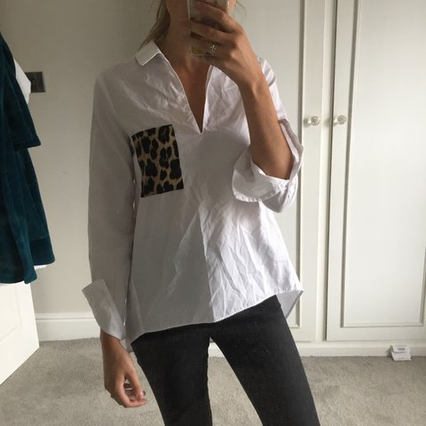072b33c2845af Zara white blouse   shirt with leopard print pocket. Size - Depop