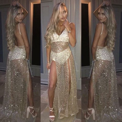 My Dream Dress in gold sheer double thigh high split debs is - Depop 35a28e77f48e