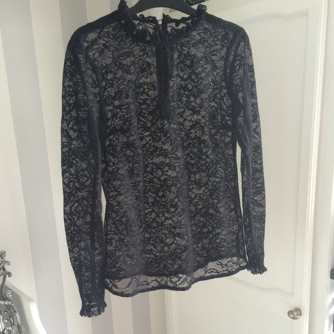 4f7545449d4 Zara black lace top blouse. Size XS but will fit a small uk - Depop