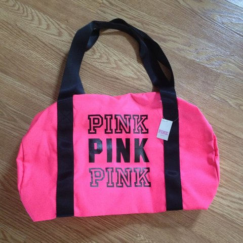 a04552f94c32 Neon Pink Victoria Secret Pink Duffle Bag! Great size for to - Depop