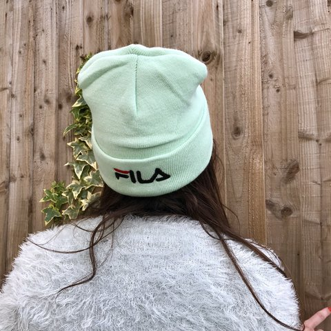 c14a41fa26a The cutest mint fila beanie with embroidered logo on the its - Depop