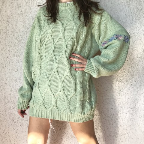 29092f1be The softest green oversized cable knit jumper