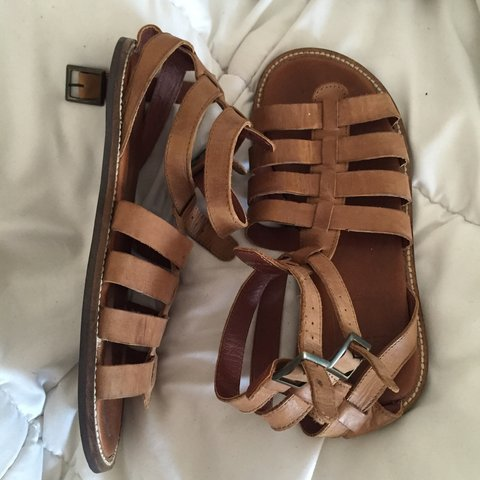 1e5f8276c10 asos Tan  Leather  gladiator  sandals  cybermonday - Depop