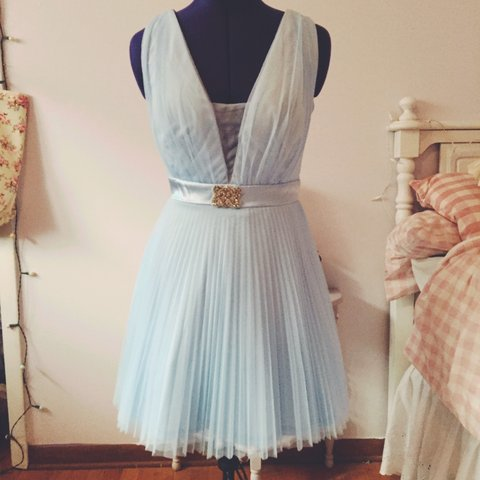 Sweet Pastel Blue Formal Dress Made From Blue Satin And Has Depop