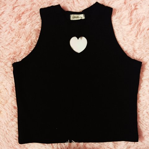 12330aea7716b Cute black heart cutout crop top. Has a slight mock neck and - Depop
