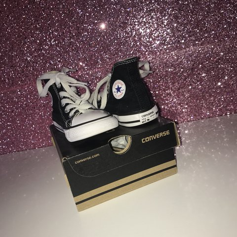 9a63f3fade99c3 Black high top converse. Uk toddler size 6! Still in fab on - Depop