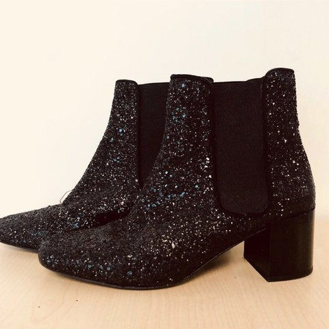 4a470b8aaa46 Zara Black Sparkle Sock Booties Great condition. Perfect for - Depop